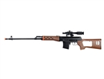 UKArms M677A SVD Spring Airsoft Gun with Laser Scope and Flashlight Accessories (Wood)