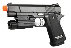 WE 4.3 Compact 1911 Full Metal Gas Blow Back Gun with AIM Sports Compact Quick Release 60 Lumens Flashlight Weaver Mount