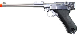WE P08 Luger Long Type Barrel Airsoft Gas Blowback Pistol (Silver)
