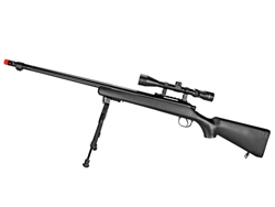 Well VSR-10 Bolt-Action Airsoft Sniper Rifle Fluted Barrel w/ 3-9x40 Variable Zoom Scope & Bi-Pod Package