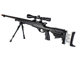Well MB12 Bolt-Action Airsoft Sniper Rifle Telescoping Stock w/ 3-9x40 Variable Zoom Scope & Bi-Pod Package