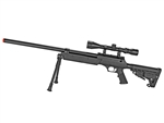 Well MB13 Tactical Bolt-Action Airsoft Sniper Rifle  Command Stock w/ 3-9x40 Variable Zoom Scope & Bi-Pod Package