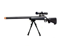 Well Sniper Rifle VSR-10 BOLT ACTION Airsoft Sniper Gun with 3x Scope & Bipod, Black