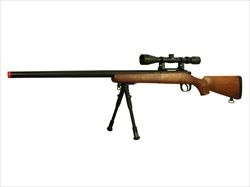 Well MB03 Sniper Rifle VSR-10 Bolt Action Airsoft Sniper Gun with 3x Scope & Bipod, Wood