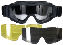 Lancer Tactical Basic Airsoft Protection Goggles in Black with Deluxe Lens Kit (Clear/Smoke/Yellow Lenses)