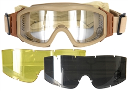 Lancer Tactical Basic Airsoft Protection Goggles in Tan with Deluxe Lens Kit (Clear/Smoke/Yellow Lenses)