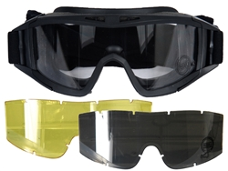 Lancer Tactical Standard Airsoft Protection Goggles Deluxe Lens Kit (Clear/Smoke/Yellow Lenses)