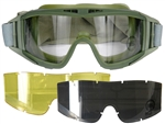 Lancer Tactical Standard Airsoft Protection Goggles in Olive Drab with Deluxe Lens Kit (Clear/Smoke/Yellow Lenses)