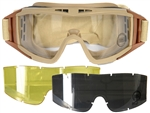Lancer Tactical Standard Airsoft Protection Goggles in Tan with Deluxe Lens Kit (Clear/Smoke/Yellow Lenses)