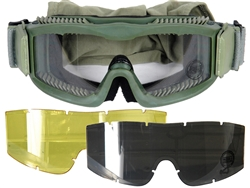 Lancer Tactical Vented Airsoft Protection Goggles in Olive Drab (Clear/Smoke/Yellow Lens)