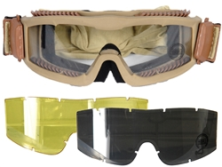 Lancer Tactical Vented Airsoft Protection Goggles in Tan (Clear/Smoke/Yellow Lens)