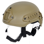 Lancer Tactical CA-333 MICH Type Basic Airsoft Helmet w/ Integrated NVG Mount, 2 Side Rails (Tan)