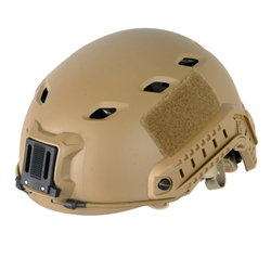 Lancer Tactical CA-334T FAST Type Basic Airsoft Helmet w/ Integrated NVG Mount, 2 Side Rails (Tan)