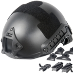 Lancer Tactical FAST Type Airsoft Helmet Deluxe Edition w/ Integrated NVG Mount and RIS Rails Mounts (Black)