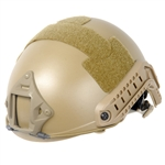 Lancer Tactical CA-739 FAST PJ Type Basic Airsoft Helmet w/ Integrated NVG Mount, 2 Side Rails (Tan)