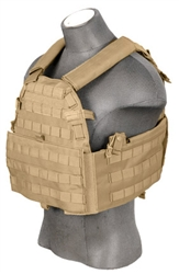 Lancer Tactical CA-311 Tactical Strike Cutaway Plate Carrier Vest (Tan)