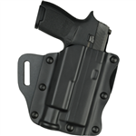 SAFARILAND MODEL 557 OPEN-TOP BELT SLIDE CONCEALMENT BASKET WEAVE HOLSTER, S&W M&P 9/40 WITH SUREFIRE X300, RIGHT HANDED
