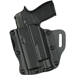 SAFARILAND MODEL 557 OPEN-TOP BELT SLIDE CONCEALMENT BASKET WEAVE HOLSTER, S&W M&P 9/40 WITH SUREFIRE X300, LEFT HANDED