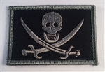 CALICO JACK (PIRATE) PATCH W/VELCRO, GREY ON BLACK