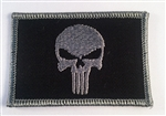 PUNISHER FLAG PATCH W/VELCRO, GREY ON BLACK