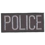 POLICE PATCH, GREY ON BLACK