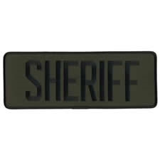 SHERIFF BACK PATCH, BLACK ON OD