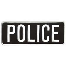 POLICE BACK PATCH, WHITE ON BLACK