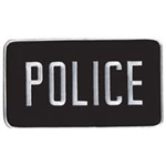 POLICE BACK PATCH, 9 X 5IN, WHITE ON BLACK