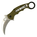 FOX 479 KARAMBIT OD GREEN HANDLE / STONE WASH BLADE FOLDING KNIFE