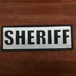 HATCH REFLECTIVE SHERIFF PATCH, BLACK ON SILVER
