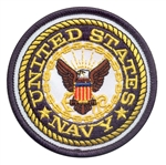 U.S. NAVY 3in ROUND PATCH, WITH HOOK VELCRO