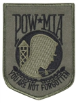 POW/MIA PATCH, OD GREEN / BLACK, W/ HOOK VELCRO