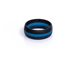 Silicone Wedding Band, Thin Blue Line, Size 8