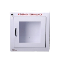 Alarmed AED Cabinet. AED cabinet with alarm can be wall mounted and holds most automated external defibrillators within cabinet to keep your AED safe and clean. We feature quality AED cabinets with and without alarms from Modern Metal. 180SM-1