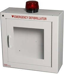 Defibrillator Cabinet - AED cabinet with Alarm and Strobe. Modern Metal Automated External Defibrillator alarmed storage wall mount case with strobe light. 180SM-14R