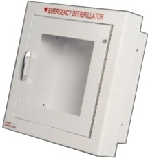 Modern Metal Alarmed AED cabinet Semi-Recessed into wall. AED cabinet meets ADA requirements for cabinets mounted in hallways. 180SR3-1. Alarm AED cabinet wall mounted.