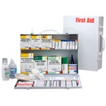 2-Shelf Industrial First Aid Cabinet, 75 person. This metal 2-shelf, 516-piece industrial first aid station is designed as an auxiliary kit for smaller businesses, offices and work sites and serves