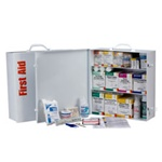 3-Shelf Industrial First Aid Cabinet, 100 person. This metal 3-shelf, 1,092 piece industrial first aid station is designed as an first aid kit for businesses, offices and work sites and serves up to 100 people. First Aid Kits for the workplace. 247-O/FAO
