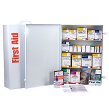 First Aid Kits - 4-shelf, 1,060-piece industrial first aid station meets and exceeds OSHA recommendations for businesses, offices and work sites. Serves first aid needs for up to 150 people. Meets or exceeds OSHA and ANSI standards. 248-O