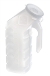 Medline's translucent white plastic male urinal has handle designed for easy holding or bedside hanging. The Medline male urinal has a attached lid helps prevent spilling, reduces odors. DYND80235H