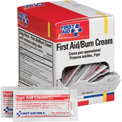 First aid/burn cream, Individually packaged in .9 gm pack - 25 per box. First Aid Only G343 or G-343
