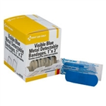 Blue metal detectable woven first aid bandages for use in manufacturing, food preparation and restaurant environments. First Aid Only H175