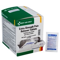 Individually packaged Extra Strength Pain Reliever from First Aid Only is a great option for your first aid kit. Each medication package is individually labeled with the expiration date and medication information. Choose your size H426, I427, J428.
