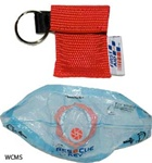 "CPR face shield in nylon CPR keychain pouch, Red. Rescue Breatherâ""¢ features a true one-way valve and mouth-to-mouth CPR barrier. Secures over ears for hands free operation. CPR Faceshield J5095"