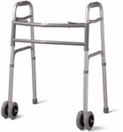 "Medline Deluxe Bariatric Walker with 5"" Wheels, 500 Pound Capacity. MDS86410XWW"