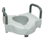 Raised Toilet seat with arms and lock PB408. Locking toilet seat riser with arms. Elevated toilet seat.