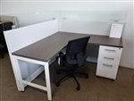 "New AIS Divi 5' x 5' Workstations with 1- BBF Ped, 42""h Panels with 8""h Clear glass"