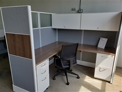 "New AIS Divi 6' x 6' Workstations with 2- Peds, 66""h Panels with Wood inserts and Smoked Glass"