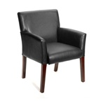 BOSS Black Leather Guest Chair NEW !!