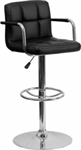 NEW CONTEMPORARY BLACK QUILTED VINYL ADJUSTABLE HEIGHT BARSTOOL WITH ARMS AND CHROME BASE